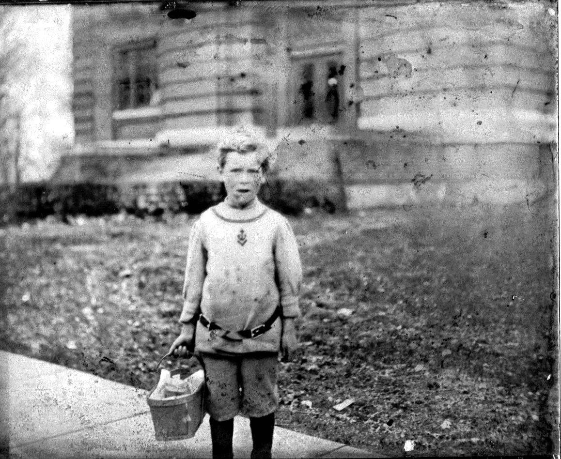 photo of Child in Front of Library
