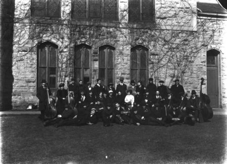 photo of Orchestra in front of King Chapel