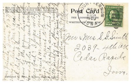 photo of Back of Postcard