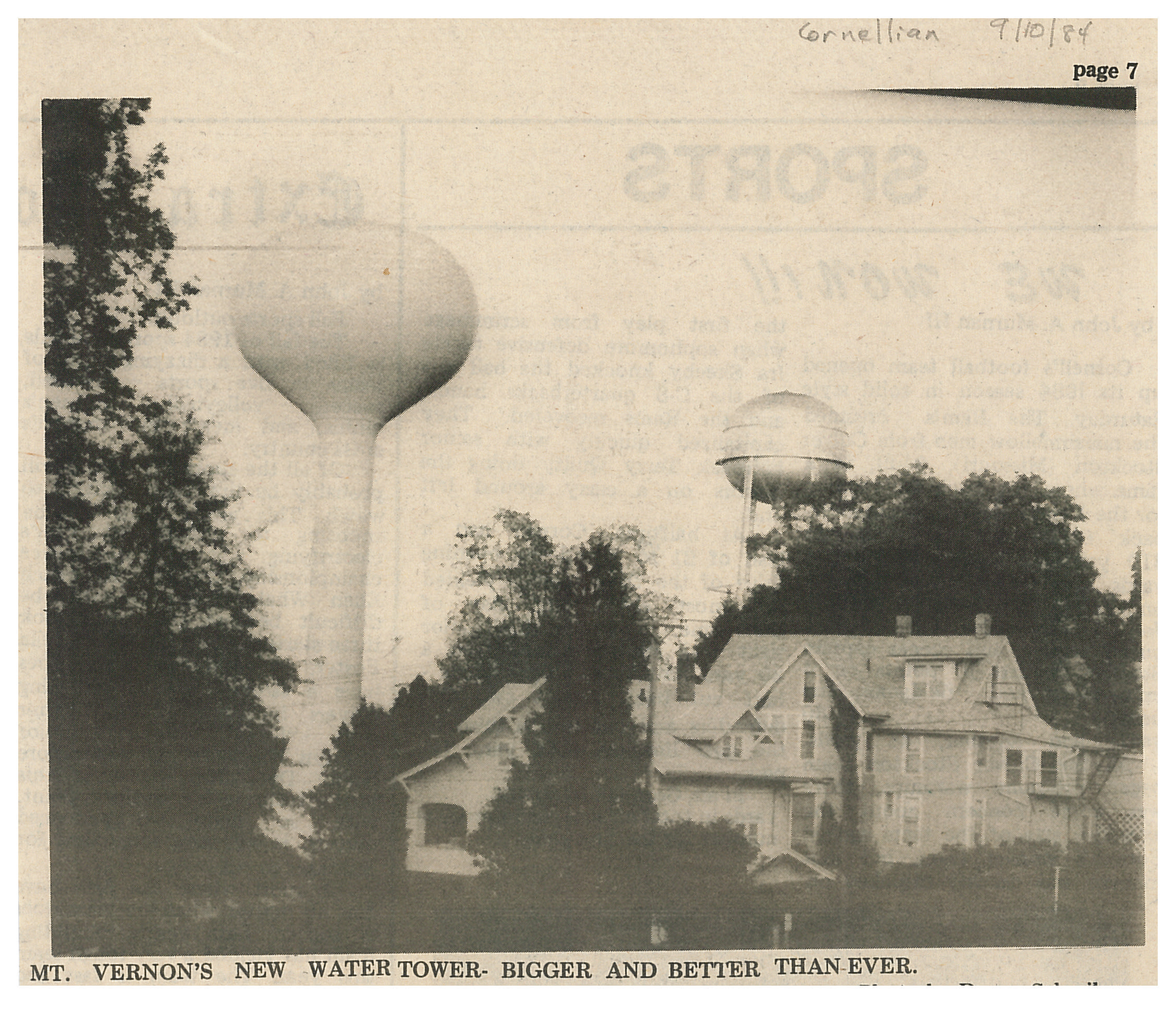 photo of Mount Vernon's New Water Tower