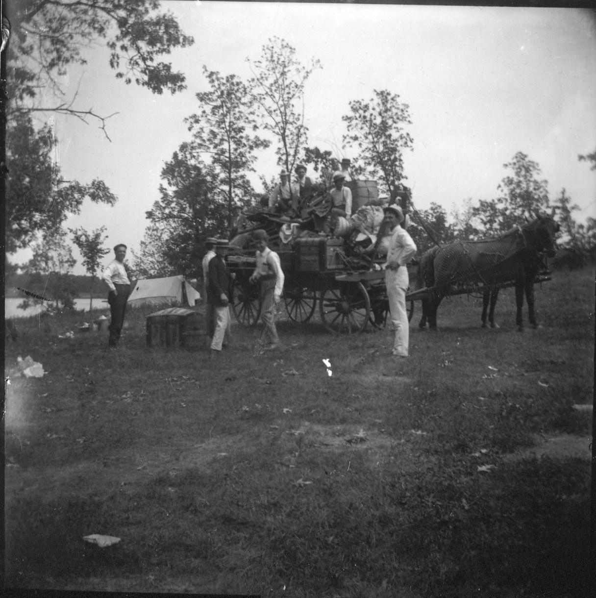 photo of Unidentified Men and Women with a Horse and Wagon