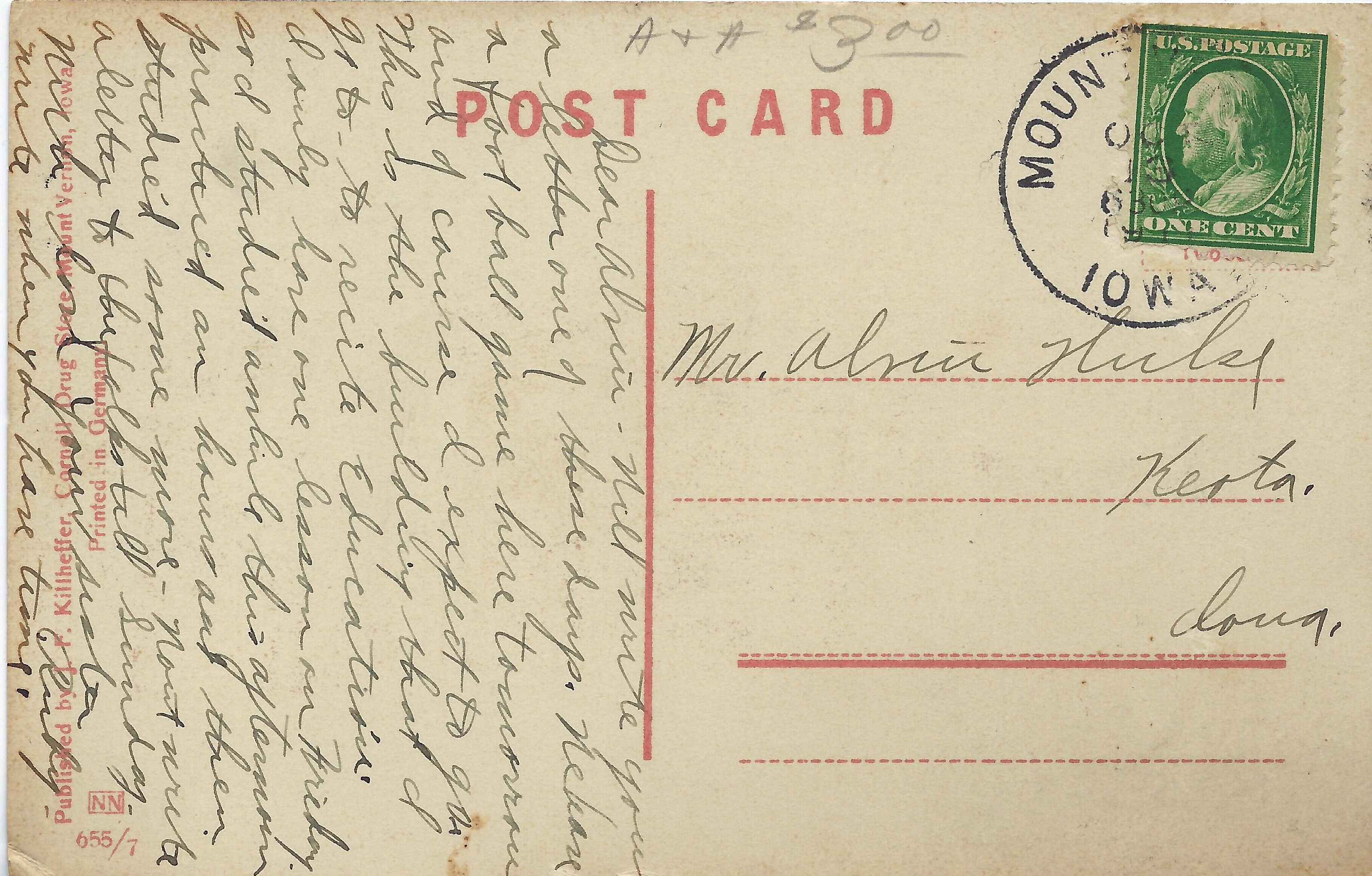 Photo of back of South Hall postcard