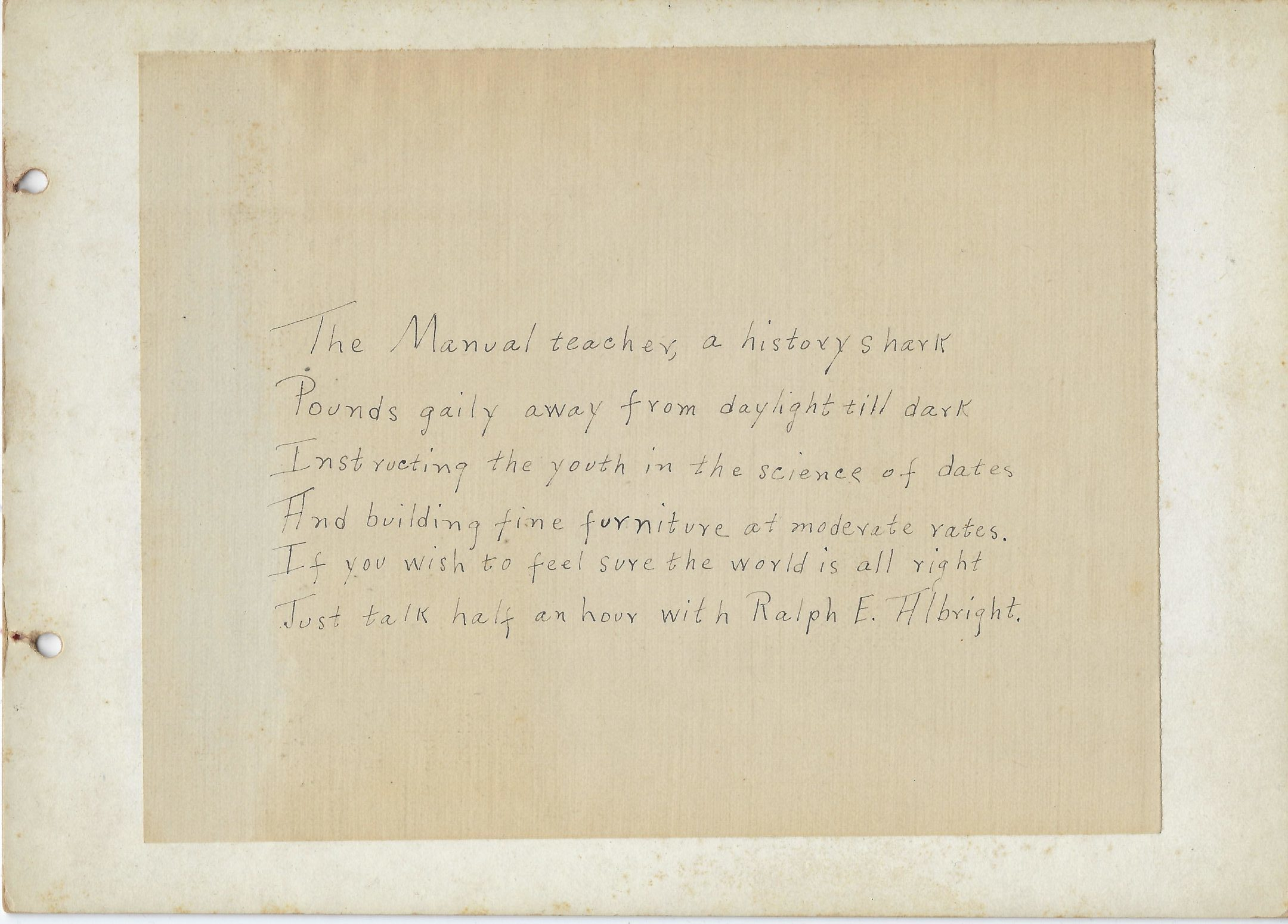 Photo of poem from Mount Vernon High School on Ralph E. Albright