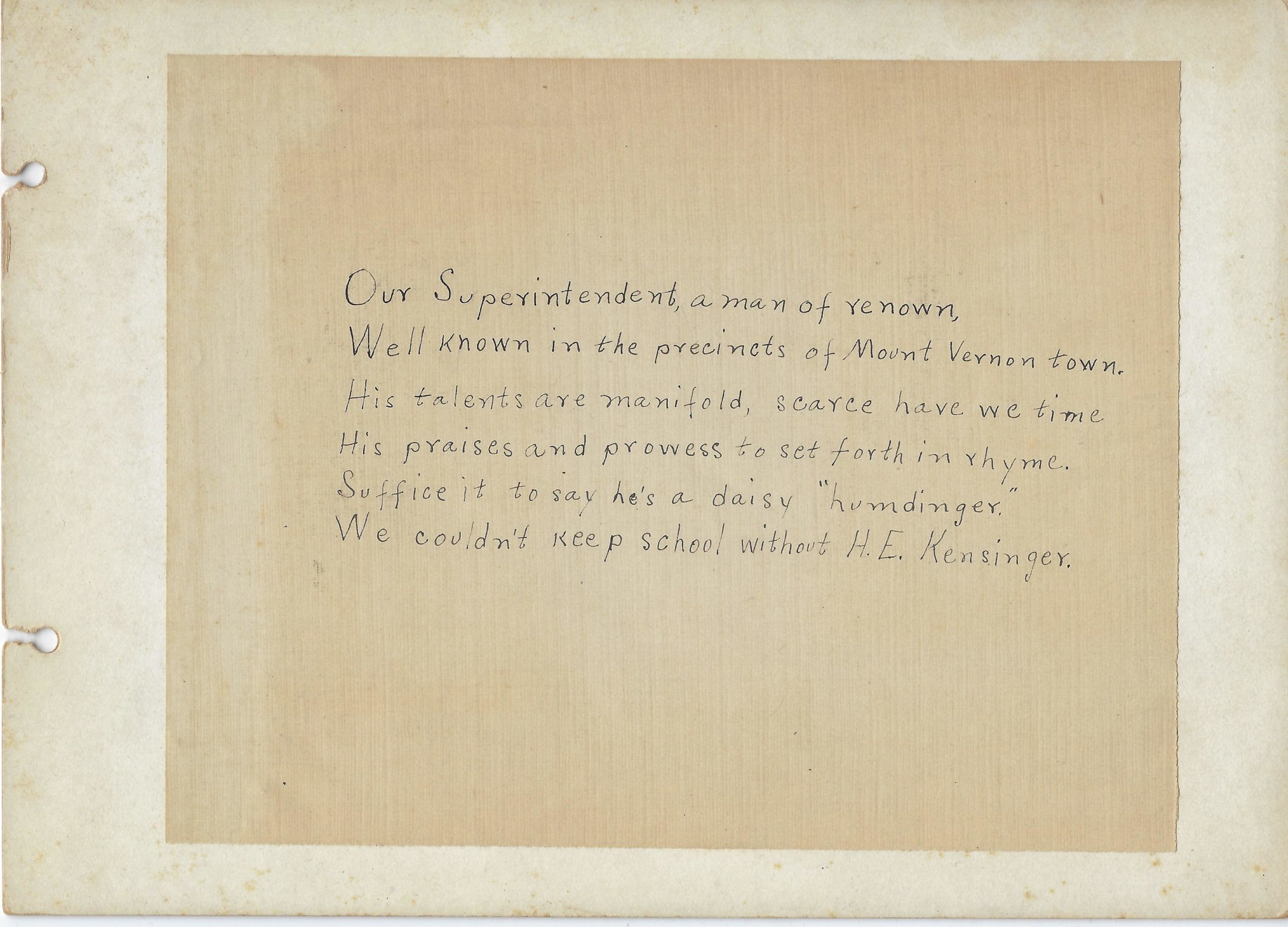Photo of mount vernon high school project poem