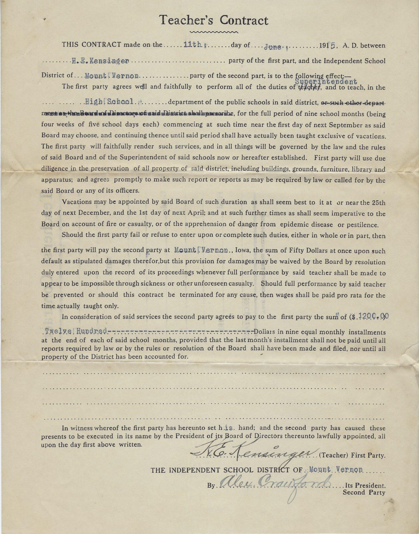 Photo of Mount Vernon High School Teacher's contract