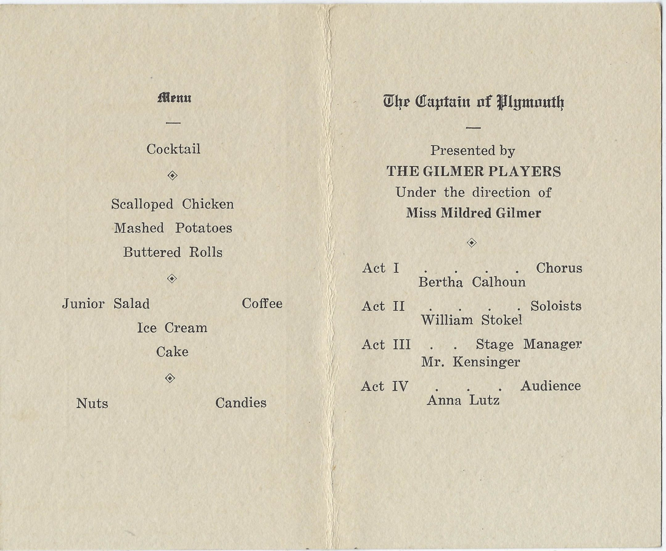 Photo of inside of banquet menu for mount vernon high school class of 1917