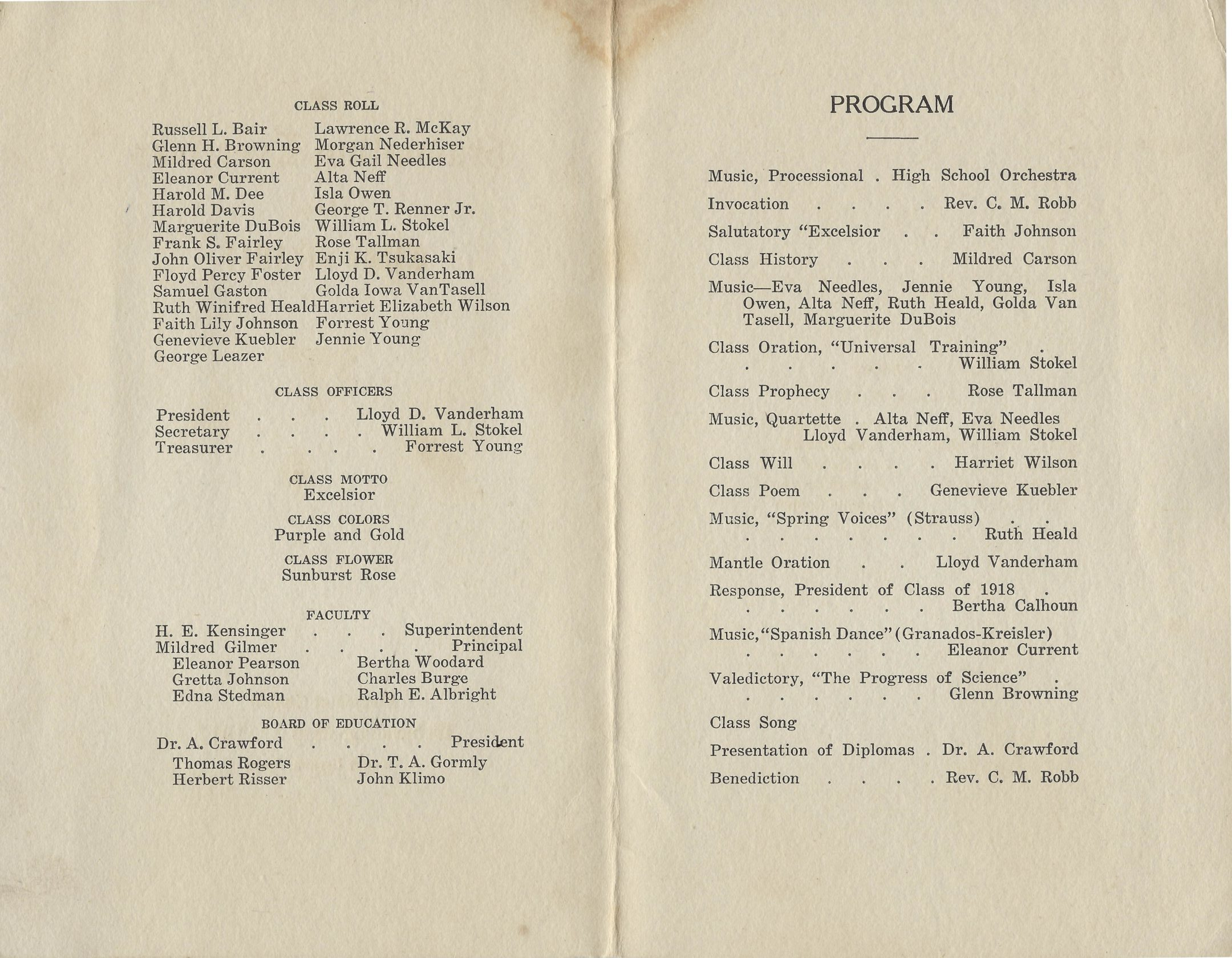 Photo of inside of the Graduating class of 1917 pamphlet