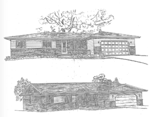 Photo of drawing of the Larry Covington house original draft drawing