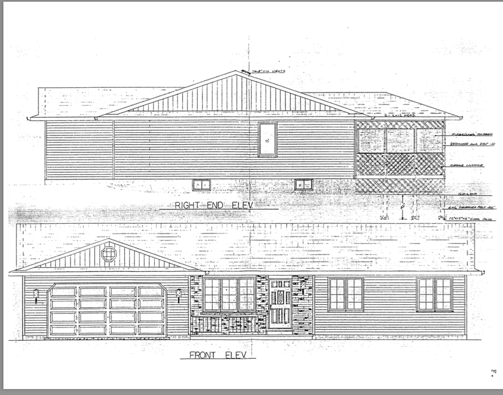 Photo of sketch of front view of the house