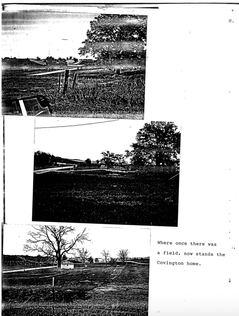 Photos of the Covington land before and after a house was built