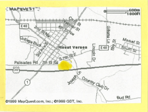 Online Map of Mount Vernon, printed off from MapQuest. It shows the location of the Verba Quarry in Mount Vernon
