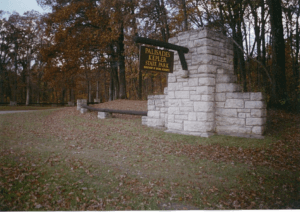 Sign showing the entrance to Palisades State Park