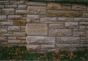 "Cornerstone of lodge that read ""ECW 1934"""