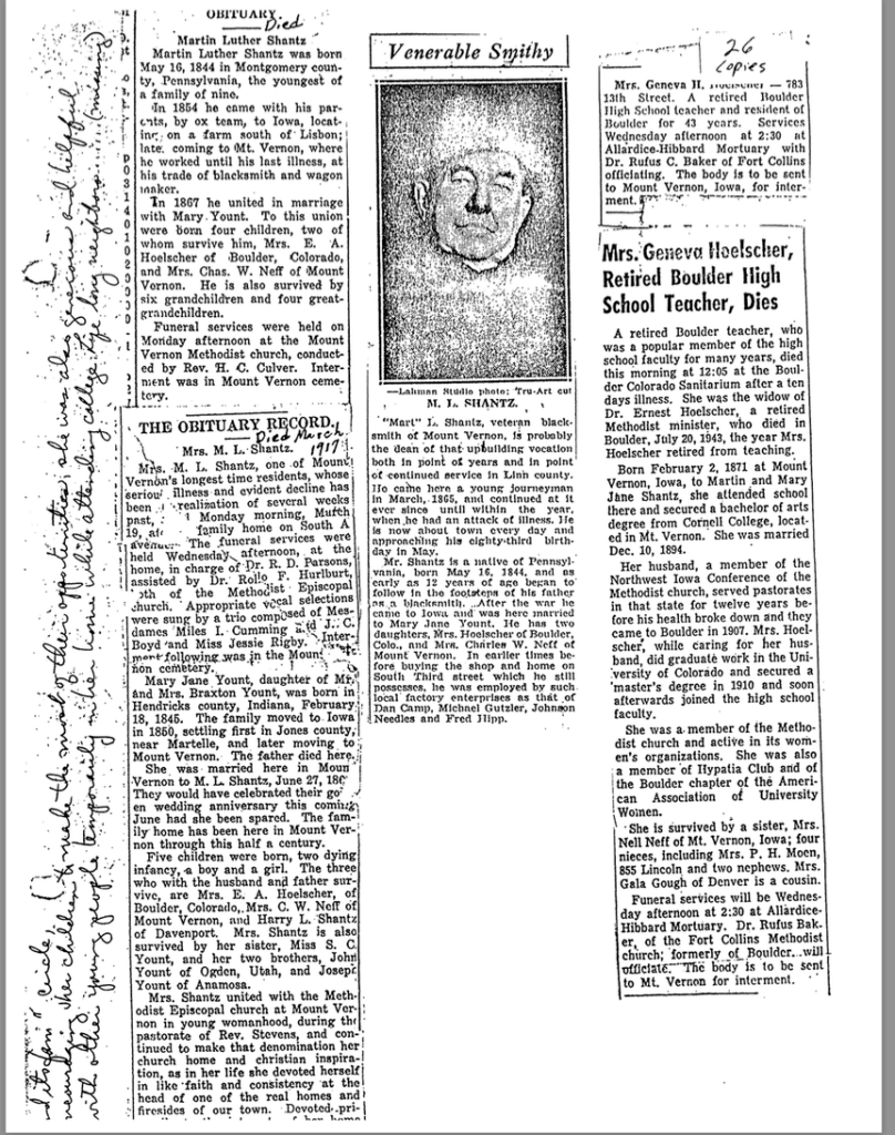 Photo of newspaper article on the Shantz family