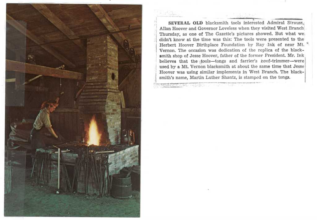 Photo of a replica of a blacksmiths shop