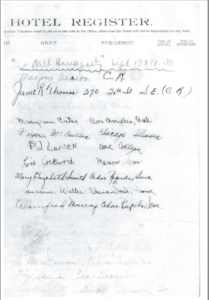 Photo of a page of the Cedar Springs Hotel register