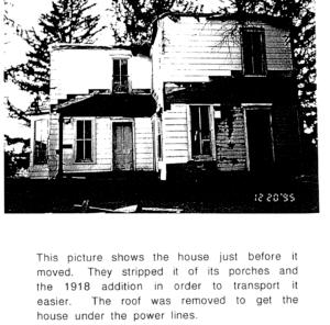 Photo of the centennial Strother house in a new location.