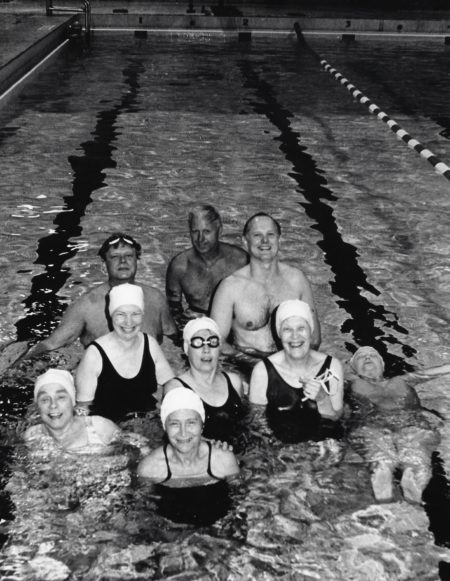 Photo of swimmers at Cornell Pool in 1986