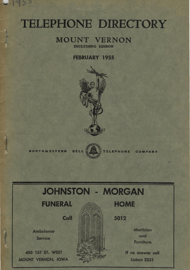 Photo of the Cover Page for the 1955 Mount Vernon Telephone Directory