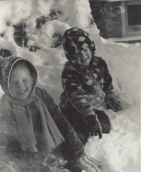 Photo of Kirsten and Warren Sutherland enjoying a snowstorm. 1974