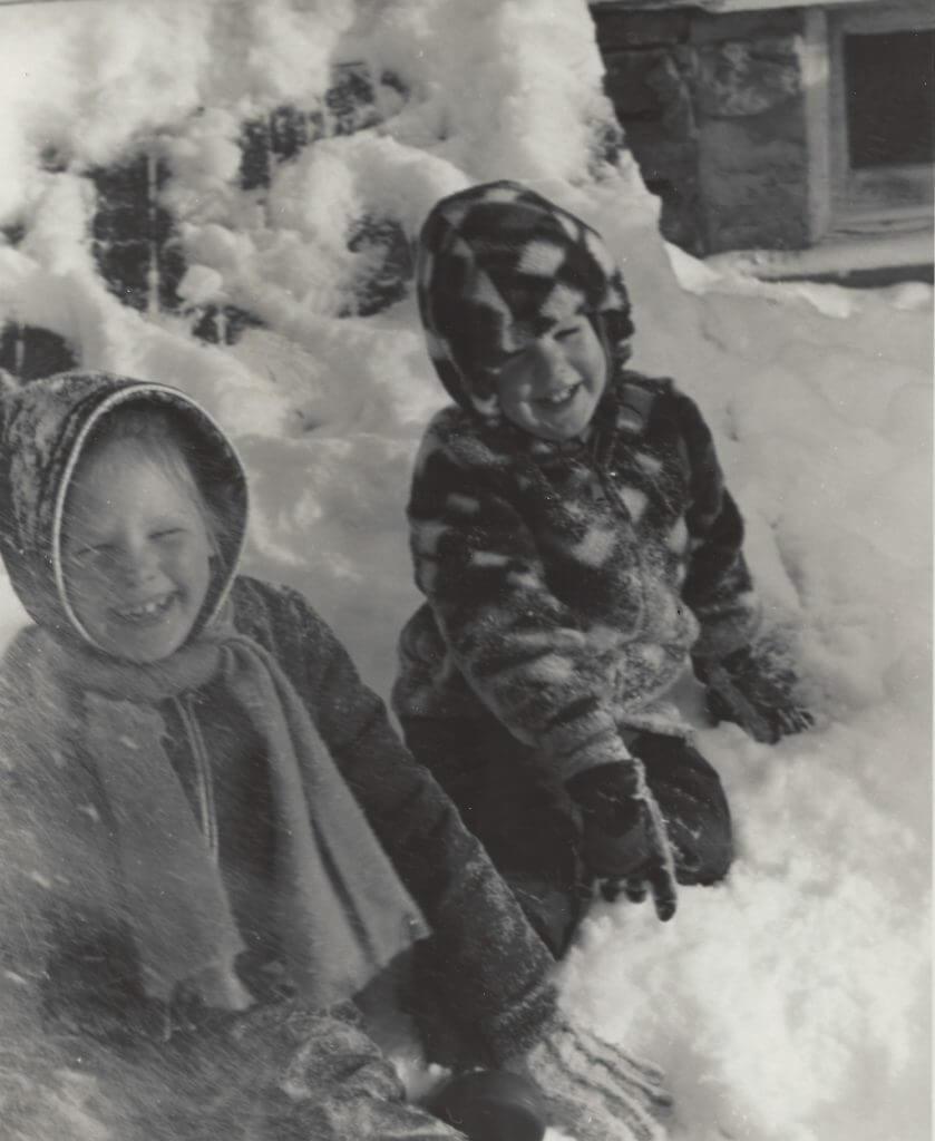 Photo of Kirsten and Warren Sutherland enjoying a snowstorm. 1974
