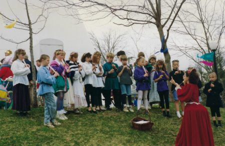 Photo of elementary students playing recorders in Memorial Park