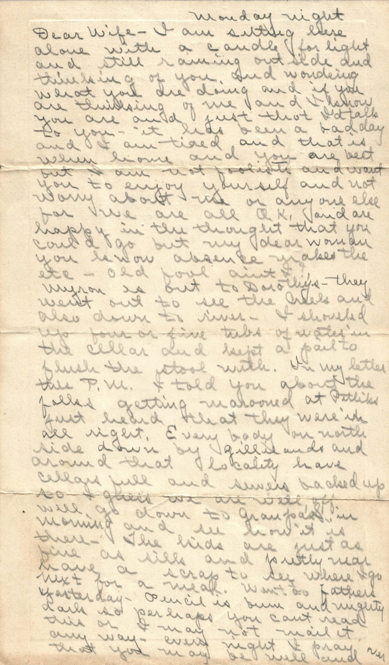 Photo of Letter from C.W. Neff to Wife Nellie