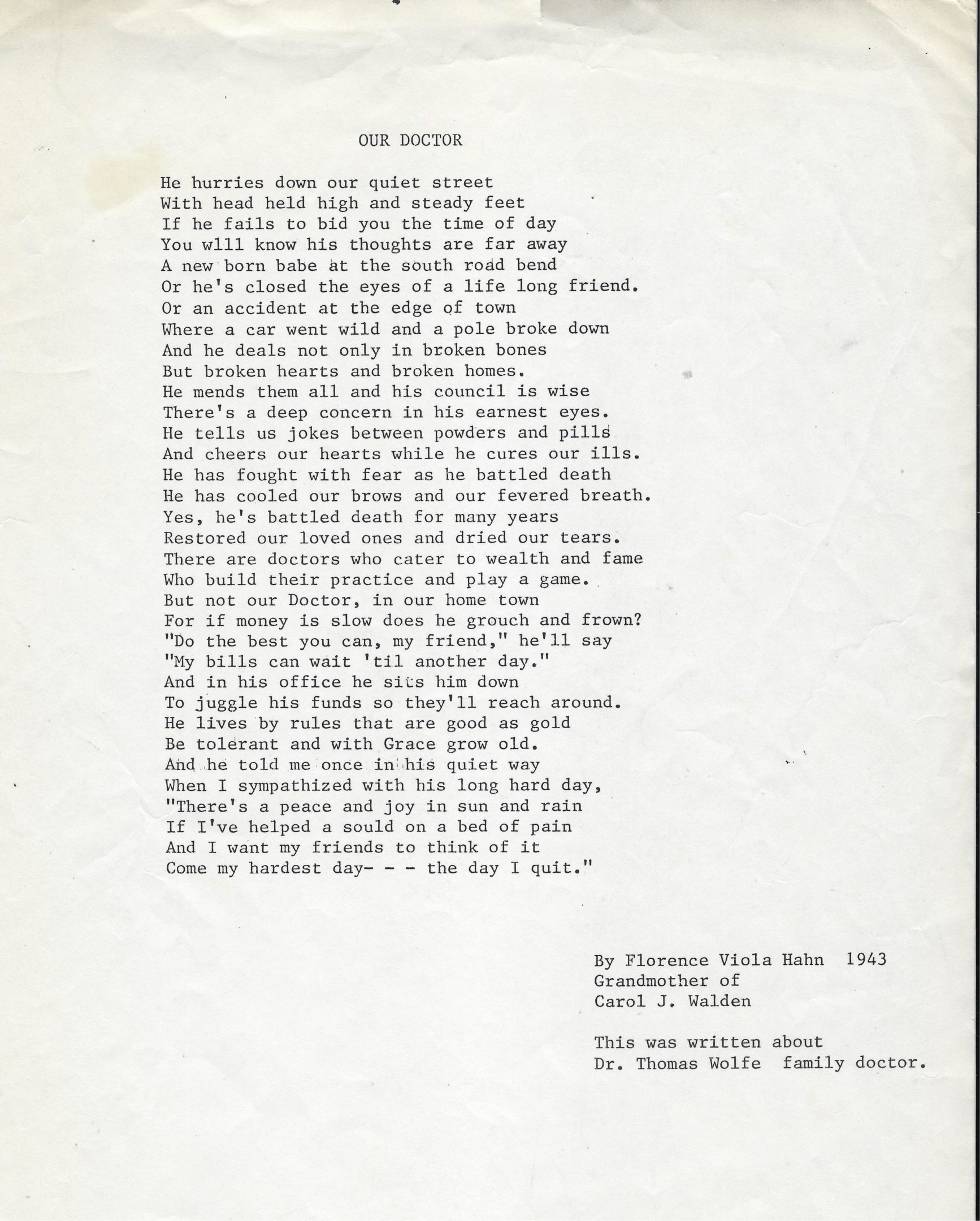 Photo of poem by Florence Viola Hahn-1943