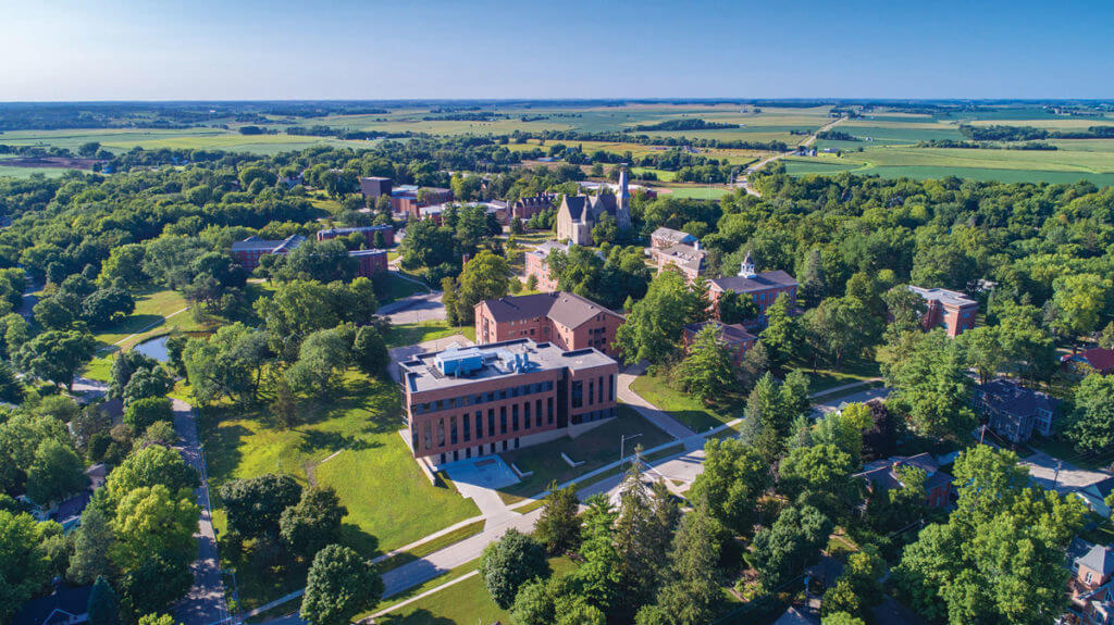 Aerial view of Cornell College campus