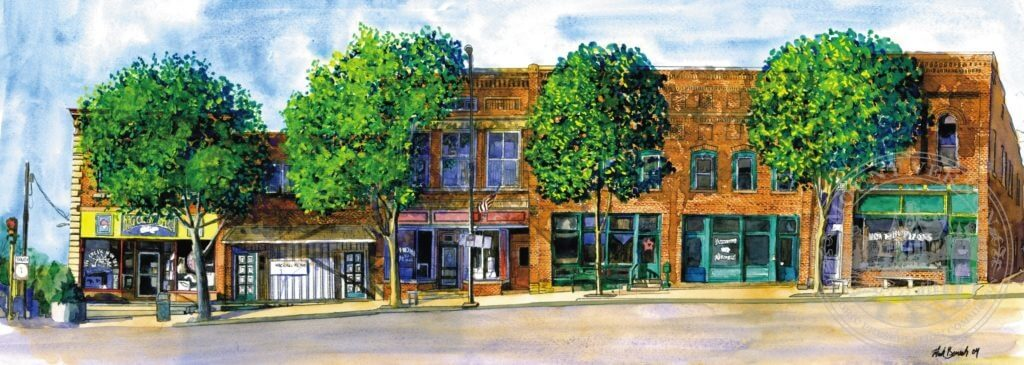Photo of Painting of Downtown Southside Sun Newspaper by Mark Benesh