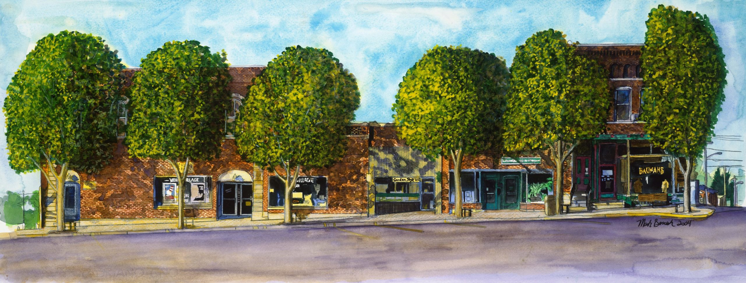 Photo of Painting of Downtown Southside Baumans by Mark Benesh
