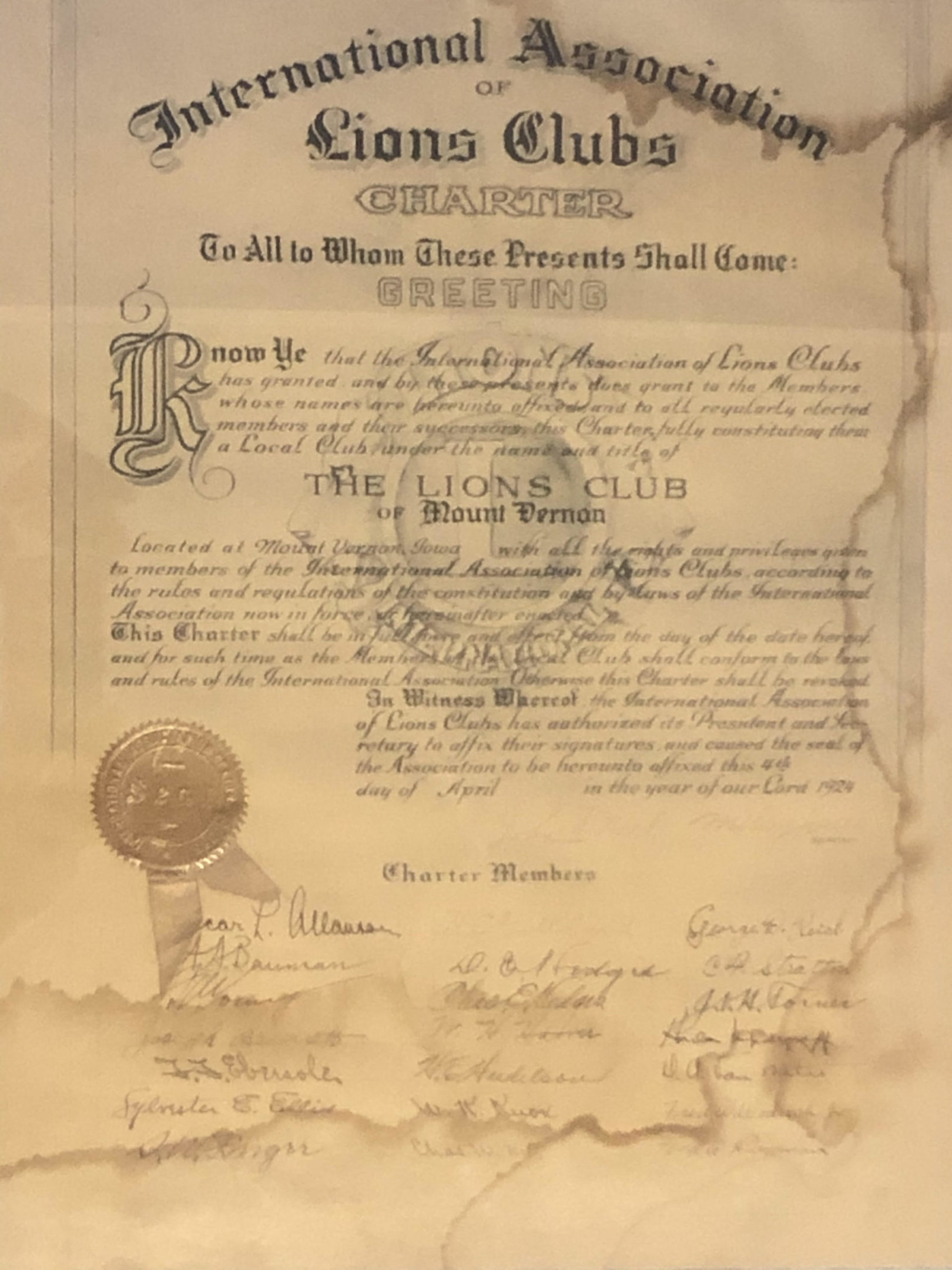 photo of the Lions Club Charter document