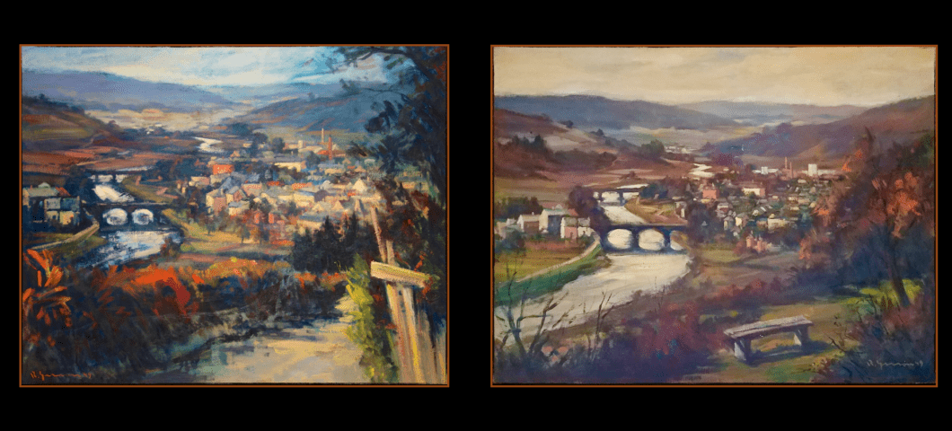 Photo of two paintings of Diekirch, Luxembourg, 1949