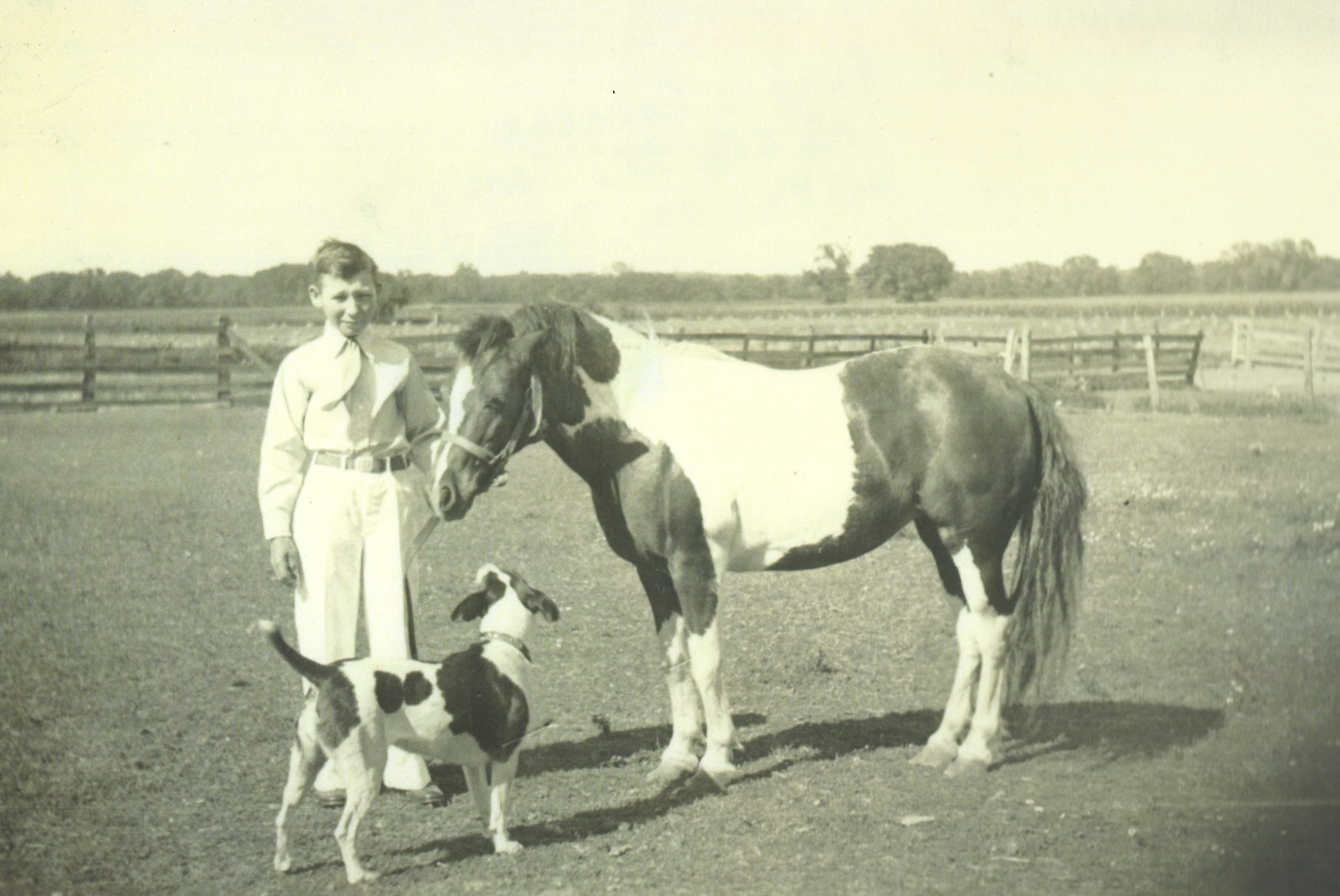 Photo of Virgil Crofter with his pony and dog