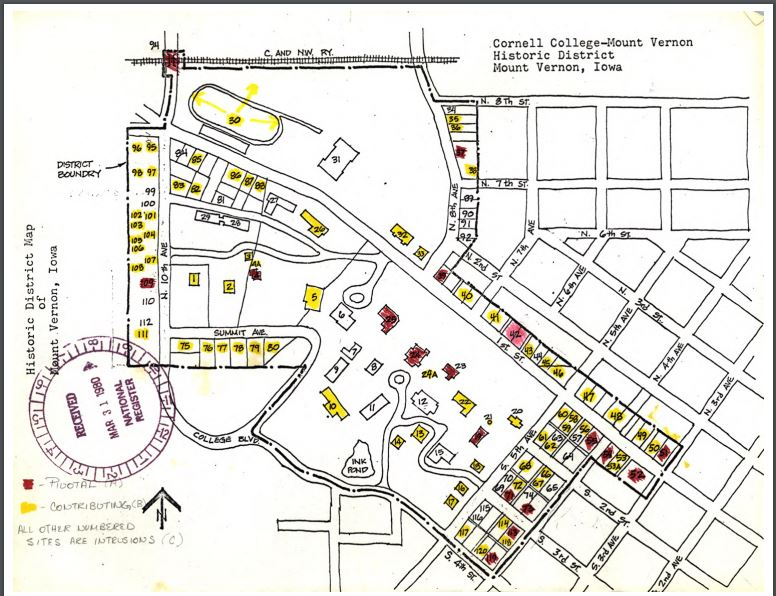 Photo of Cornell College Historic District map