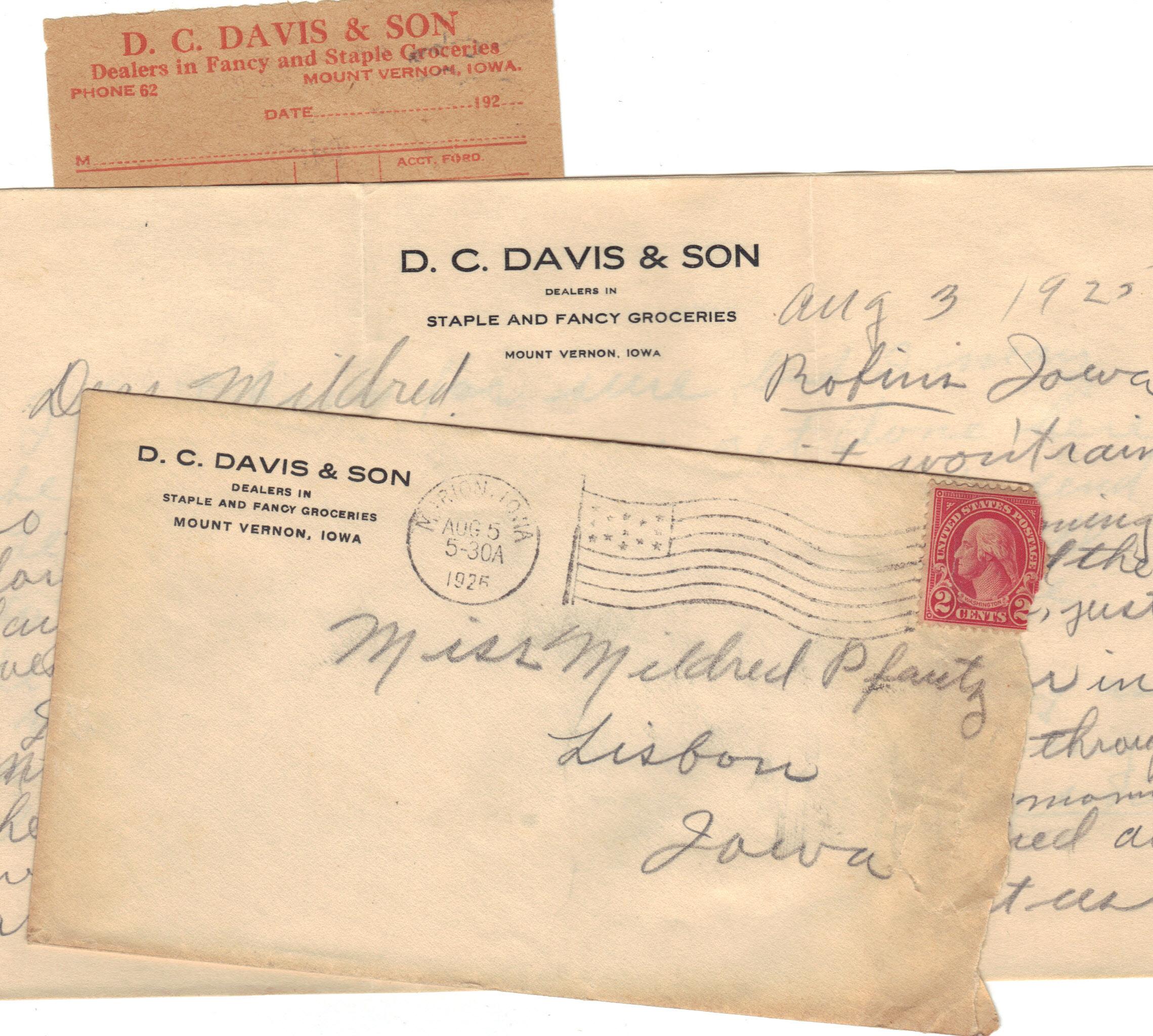 Photo of D.C. Davis & Son Letterhead